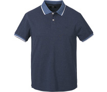 Polo-Shirt, Slim Fit, Baumwoll-Piqué, dunkelblau meliert