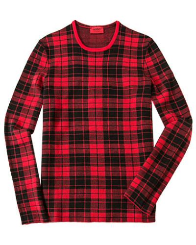 hugo boss herren herren pullover schurwolle rot schwarz kariert reduziert. Black Bedroom Furniture Sets. Home Design Ideas