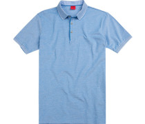 Polo-Shirt Polo Body Fit Baumwoll-Piqué hellblau meliert