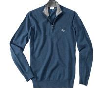 Pullover Troyer Schurwolle azurblau