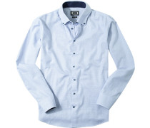 Herren Hemd Modern Fit Strukturgewebe blau gemustert