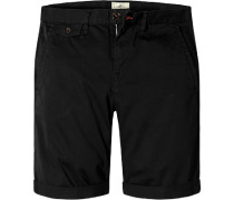 Herren Hose Bermudashorts Regular Fit Baumwolle schwarz