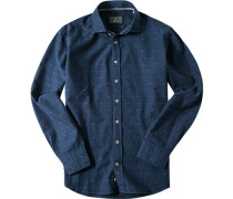 Hemd Modern Fit Baumwolle navy-rot gemustert