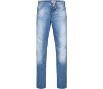 Blue-Jeans, Straight Fit, Baumwoll-Stretch, hellblau