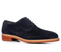 Herren Schuhe Derby Kalbveloursleder dunkelblau blau,braun