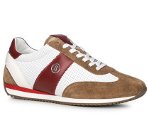 Schuhe Sneaker Leder beige-weiß