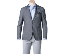 Herren Jersey-Sakko Modern Fit Baumwolle halbgefüttert grau meliert
