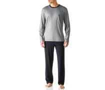 Herren Schlafanzug Pyjama Baumwoll-Mix hellgrau-indigo