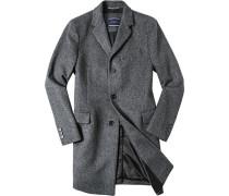 Mantel, Woll-Mix, dunkelgrau- gemustert