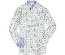 Hemd Popeline weiß- gemustert