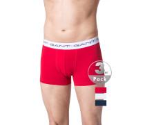 Unterwäsche Trunks Baumwoll-Stretch rot-weiß-marine