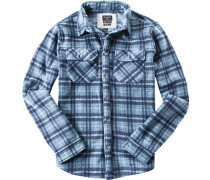 Fleece-Hemd, Modern Fit, denim kariert