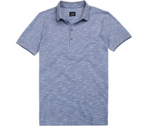 Polo-Shirt Polo Slim Fit Baumwoll-Pique hellblau meliert