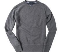 Pullover Sweater Baumwolle dunkelgrau meliert
