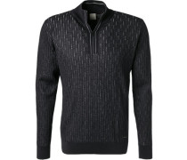 Pullover Troyer, Wolle, navy meliert