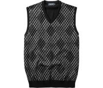 Pullover Pullunder Schurwolle -grau gemustert