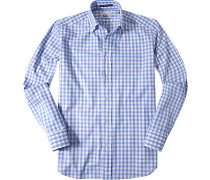 Herren Hemd Regular Fit Oxford hellblau kariert