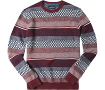 Pullover Baumwoll-Schurwolle bordeaux-marineblau meliert