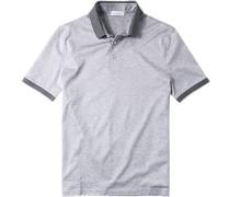 Polo-Shirt Polo, Baumwoll-Jersey, hellgrau meliert