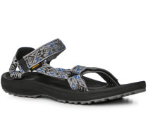 Schuhe Sandalen Textil -capriblau gemustert