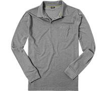Herren Polo-Shirt Polo Baumwoll-Jersey hellgrau meliert