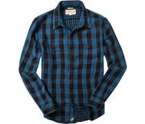 Herren Oberhemd Regular Fit Doppelface petrol-schwarz kariert blau