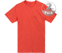 T-Shirts, Regular Fit, Baumwolle, rotorange meliert
