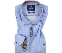 Hemd, Modern Fit, Baumwolle, hellblau gemustert