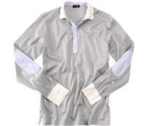 Polo-Shirt Polo Slim Fit Baumwoll-Jersey hellgrau meliert