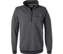 Pullover Troyer, Baumwolle, marineblau meliert