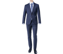 Anzug, Slim Fit, Schurwolle Super100, marine-royal meliert