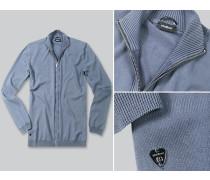 Herren Cardigan Baumwoll- Strick Jeansblau