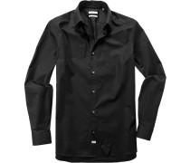 Hemd Fitted Baumwolle schwarz