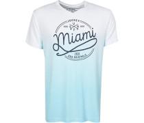 T-Shirt, Modal, weiß-türkis