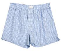 Herren Unterwäsche Boxer-Shorts Popeline hellblau-weiß kariert