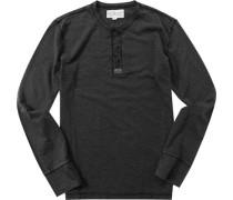 Herren T-Shirt Longsleeve Baumwoll-Mix anthrazit meliert schwarz