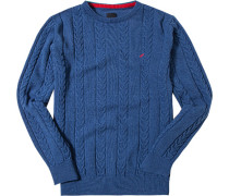 Pullover Kaschmir königsblau meliert
