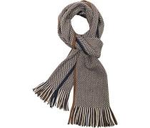 Schal, Wolle, blau-braun- gemustert
