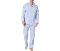 Schlafanzug Pyjama, Baumwolle, hellblau-weiß kariert
