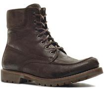 Schuhe Schnürstiefeletten Veloursleder dunkelbraun