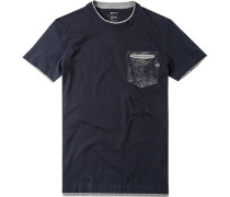 T-Shirt Slim Fit Baumwolle dunkelblau