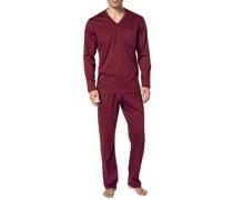Schlafanzug Pyjama Baumwolle mercerisiert in 4 Farben ,rot