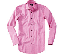 Hemd Slim Fit Baumwolle pink kariert