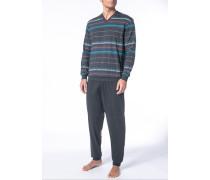 Herren Schlafanzug Pyjama Baumwolle dunkelgrau-multicolor gestreift