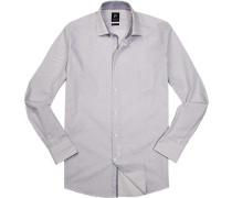Hemd Popeline Modern Fit weiß gemustert