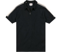 Polo-Shirt Zip-Polo Regular Fit Baumwolle dunkelblau