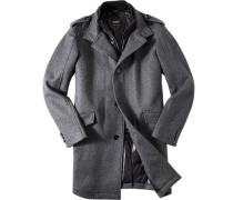Mantel Anorak Wolle wattiert meliert ,schwarz