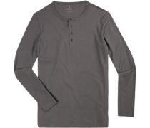 T-Shirt Longsleeve, Body Fit, Pima Baumwolle, graphit