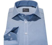 Herren Hemd Slim Fit Popeline blau gemustert