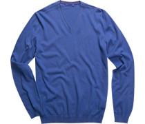 Herren Pullover Seiden-Baumwoll-Mix ozeanblau